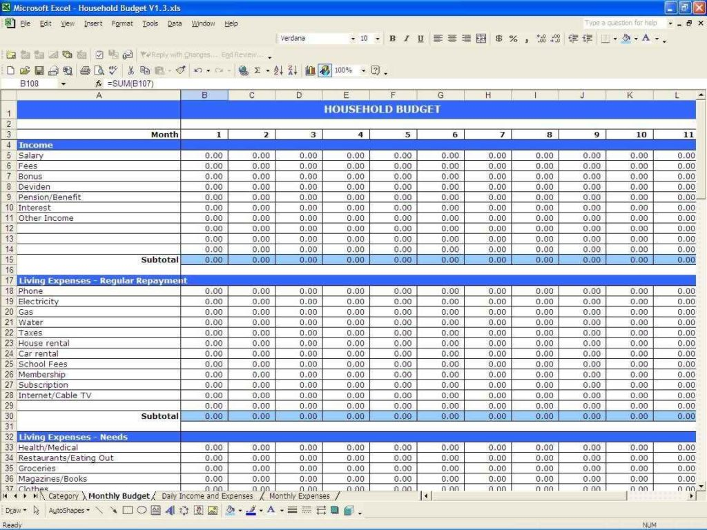 Monthly Business Expense Spreadsheet and Weekly Business Expense Spreadsheet