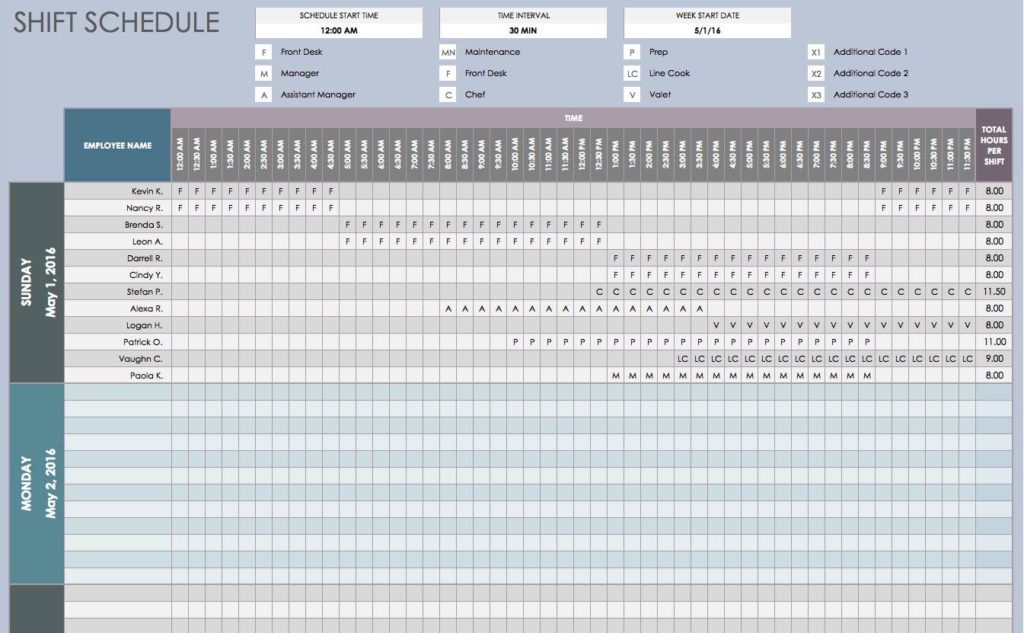 Monthly Employee Shift Schedule Template and Weekly Employee Shift Schedule Template Free Download