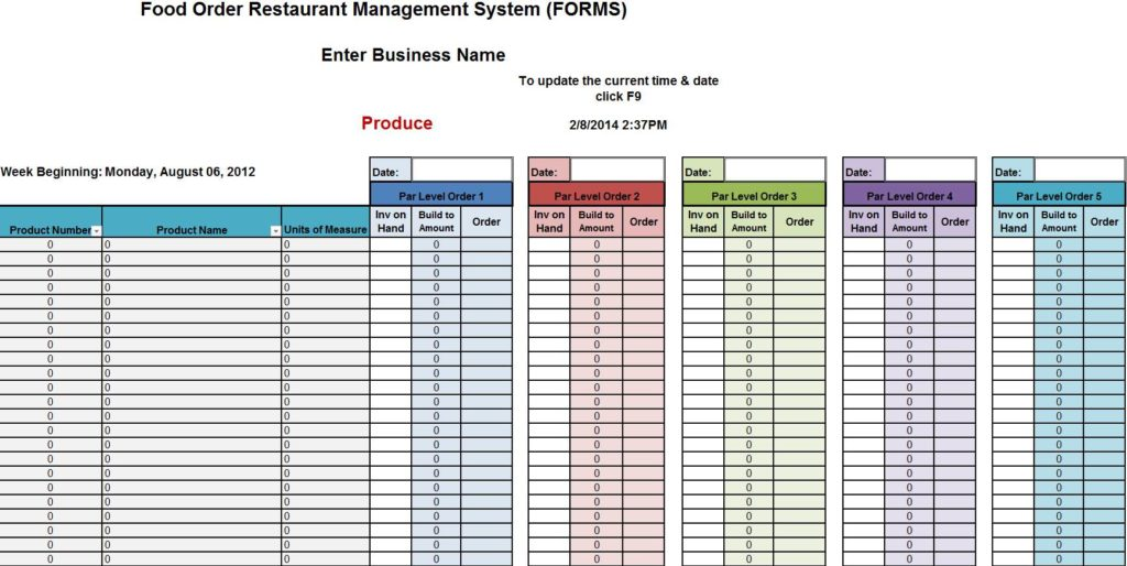 Restaurant Inventory Sheet Pdf and Printable Food Inventory Sheets