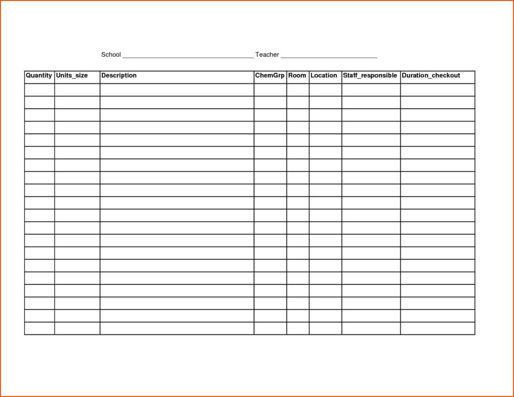 Tool Inventory Spreadsheet Excel and Tool Checklist Template