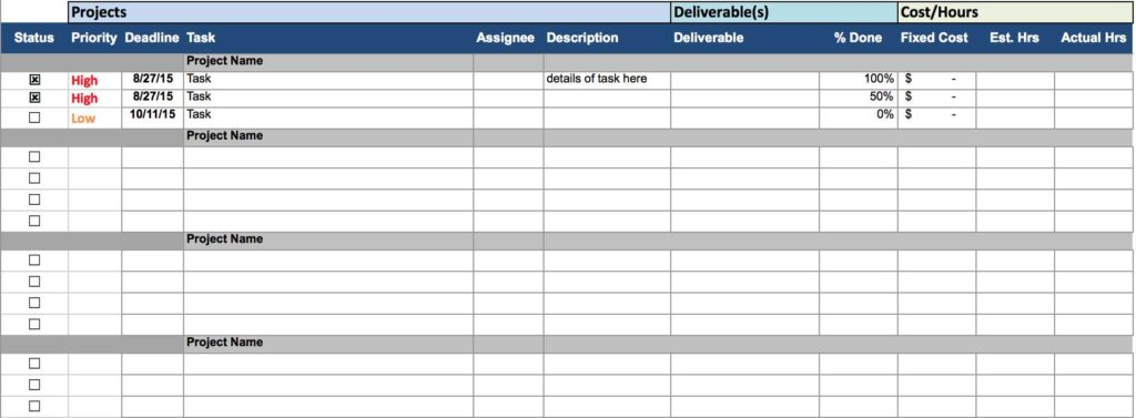 Daily Task Tracking Spreadsheet and Project Tracking Spreadsheet Free