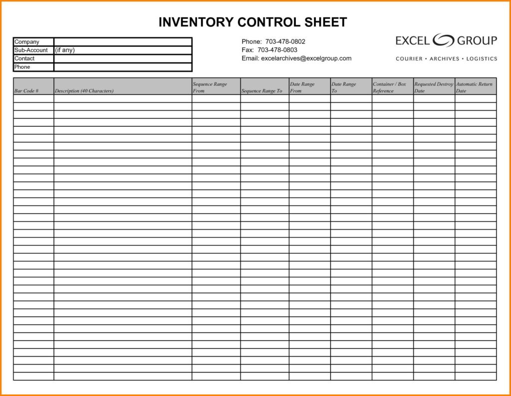 Excel Inventory Template with Formulas and Inventory Control Template with Count Sheet