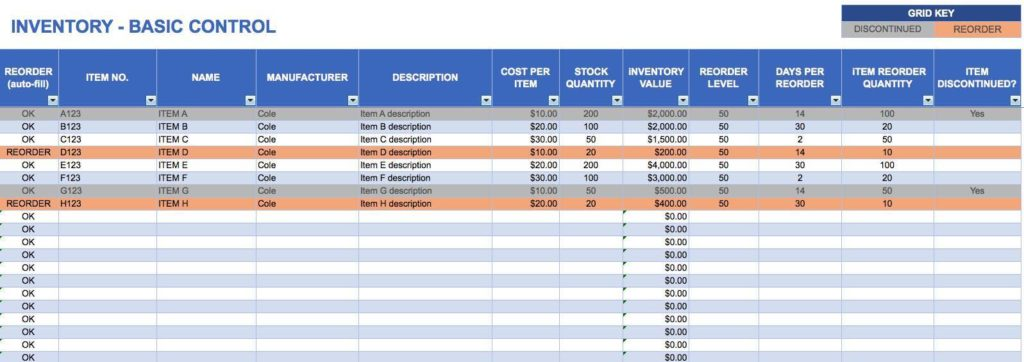 Excel Inventory Tracking Spreadsheet Template and Inventory Tracking Spreadsheet Template Download