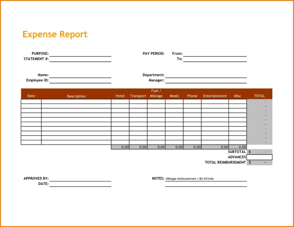Expense Report Spreadsheet Template Free and Personal Expense Report Spreadsheet