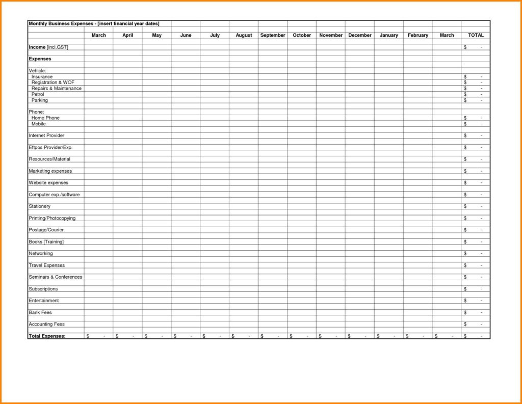 Expenses Spreadsheet for Small Business and Expense Report Template for Small Business