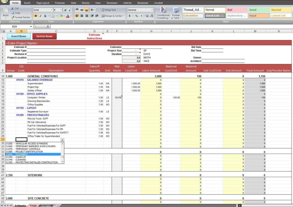 Construction Job Costing Spreadsheet And Job Costing Spreadsheet Template
