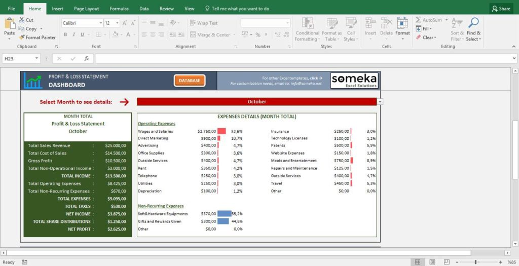 Profit and Loss Excel Template with Profit and Loss Calculator Excel
