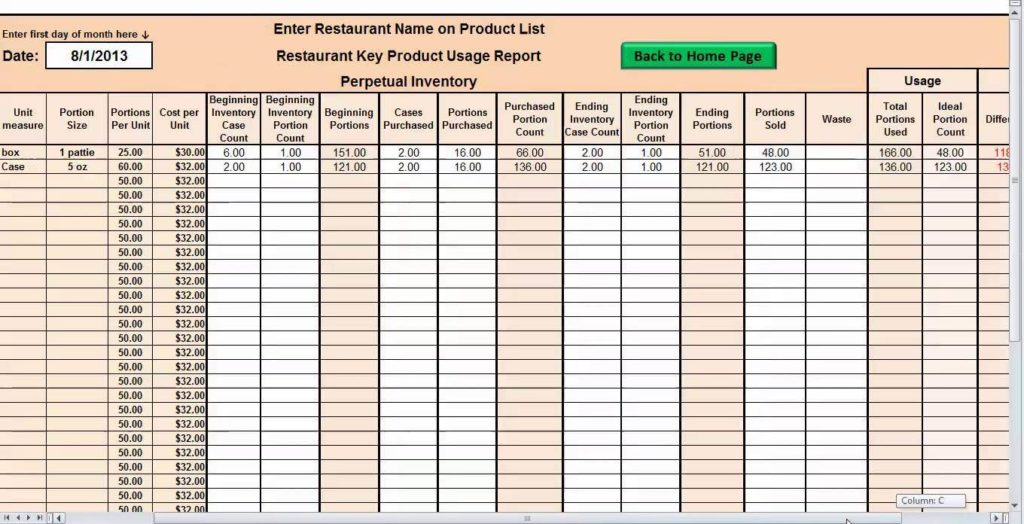 Restaurant Food Inventory Spreadsheet And Food Inventory Sheet Download
