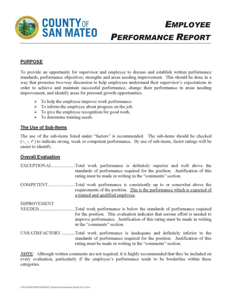 Employee Performance Evaluation Report Template And Employee Performance Appraisal Report Sample