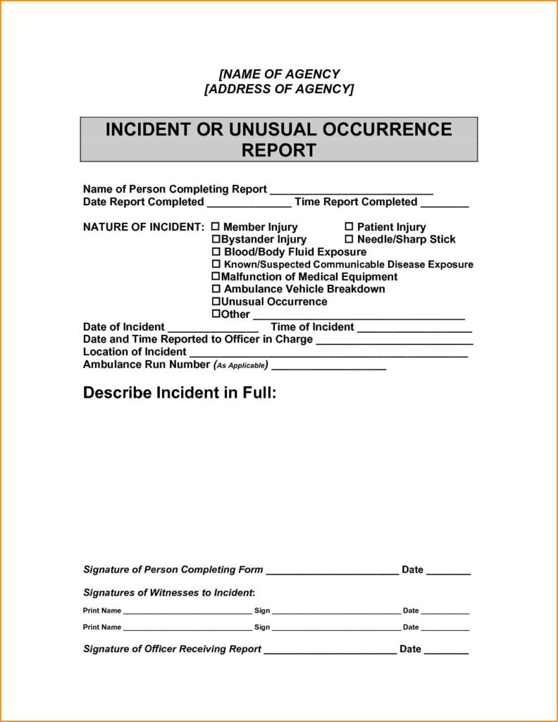 Free Sample Incident Report Form Templates And Samples Of Incident Reports In School