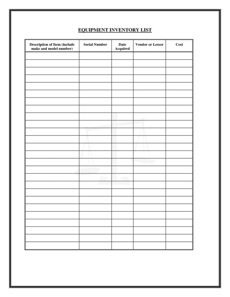 Sample Liquor Inventory Sheet And Sample Inventory Control Sheet