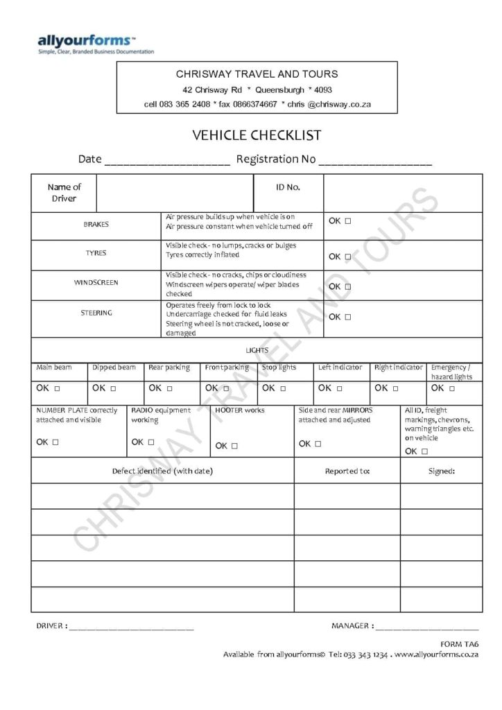 Driver Vehicle Inspection Report Form And Drivers Vehicle Inspection Report Excel