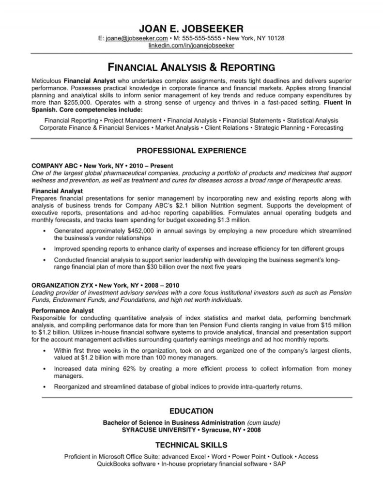 Financial Analysis Sample Business Plan And Financial Analysis Sample Resume