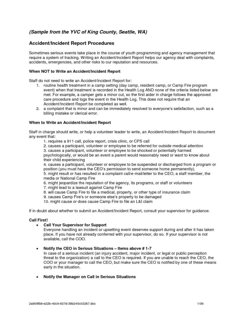 Property Management Incident Report Template And Incident Report Format For Office