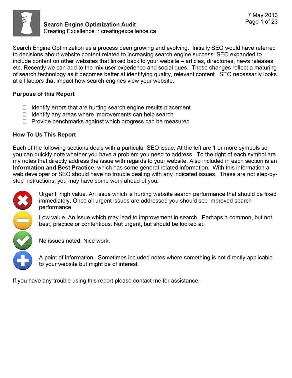 SEO Audit Report Format And SEO Performance Report Template