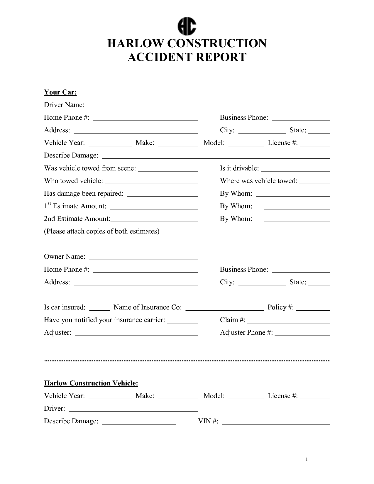 Incident Report Form Template Word And Construction Accident Reports Forms