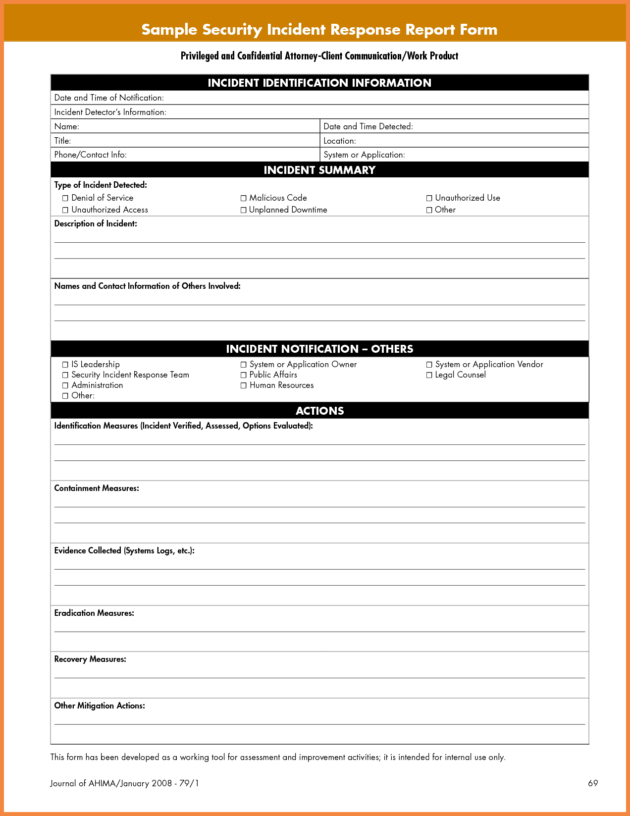 Security Incident Report Form Pdf And General Incident Report Form Template