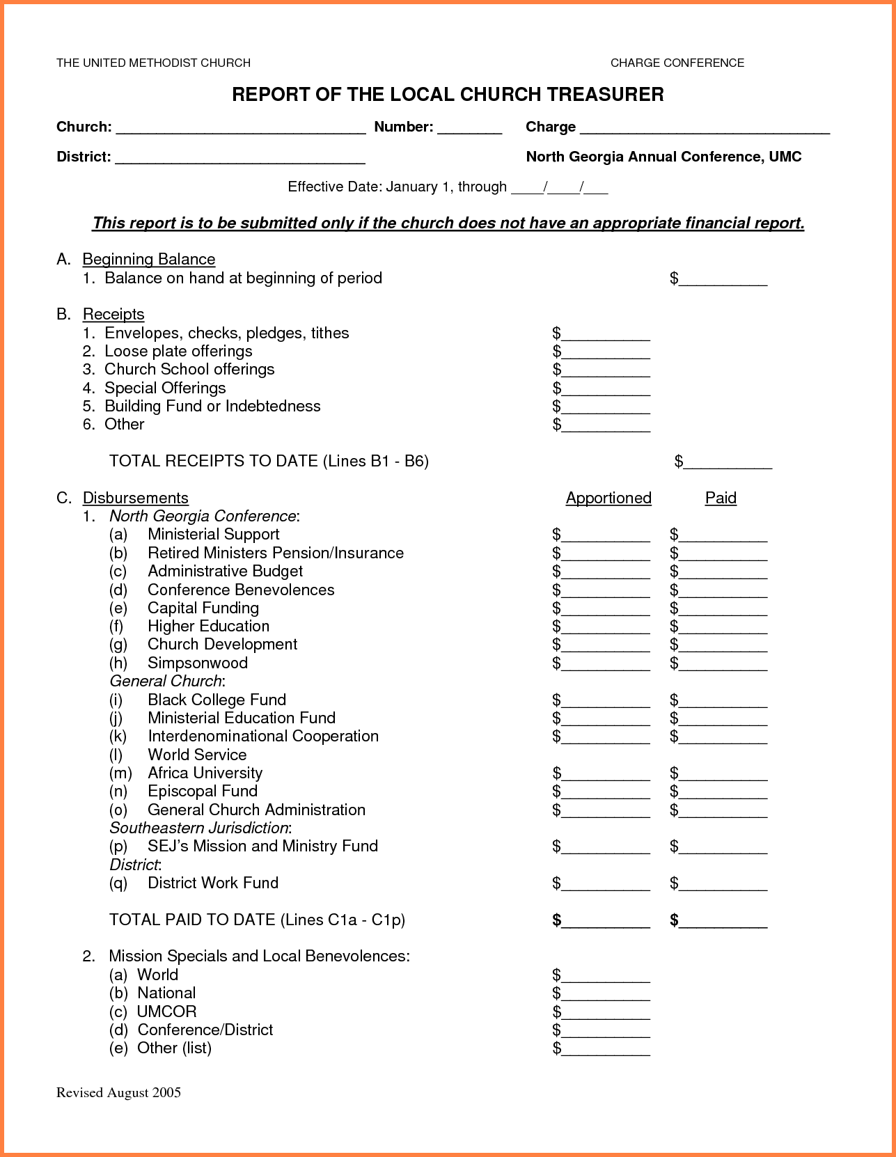 Church Financial Statement Template Excel And Small Church Monthly Financial Report Template