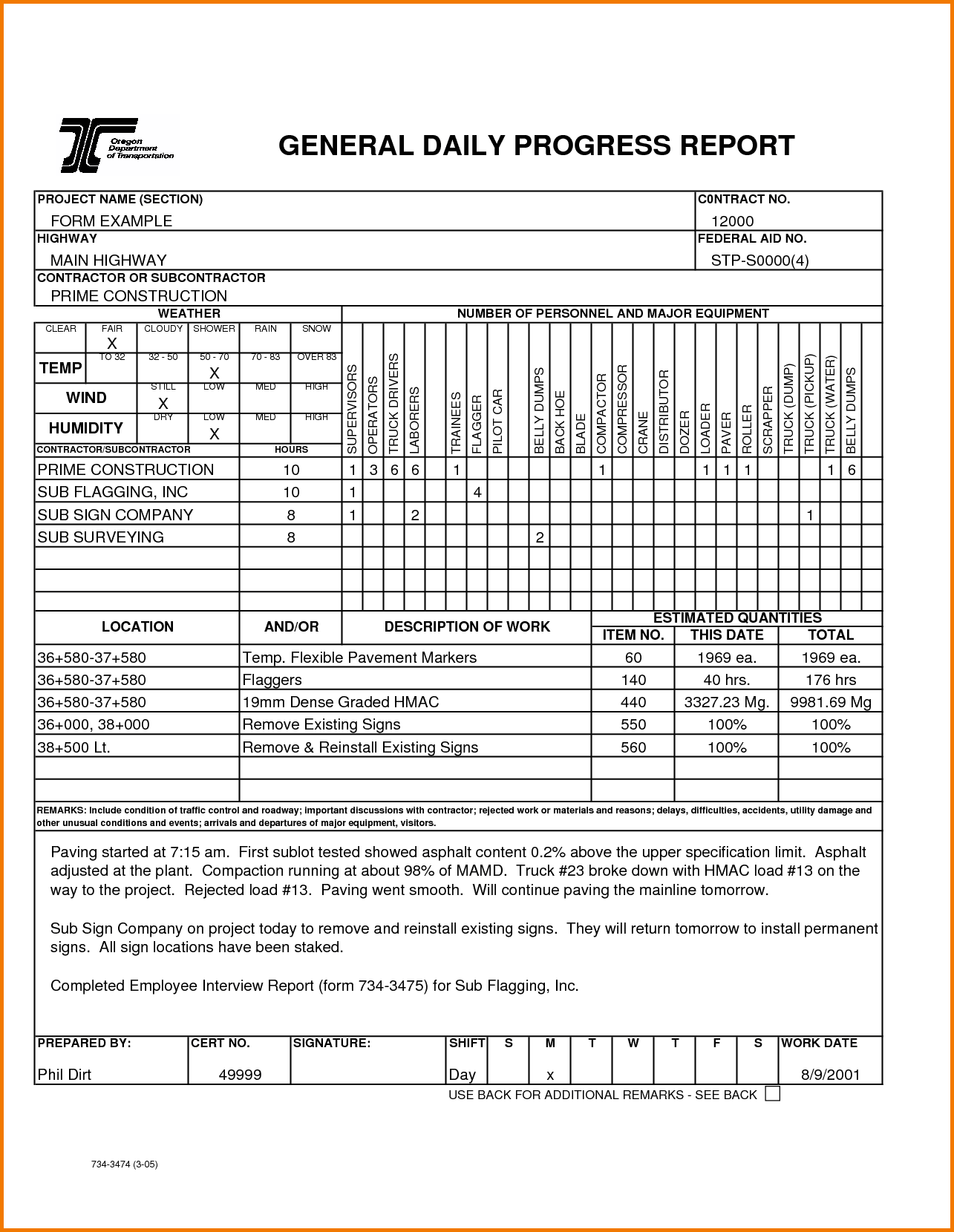 Construction Progress Report Template Free And Construction Daily Report Template Excel