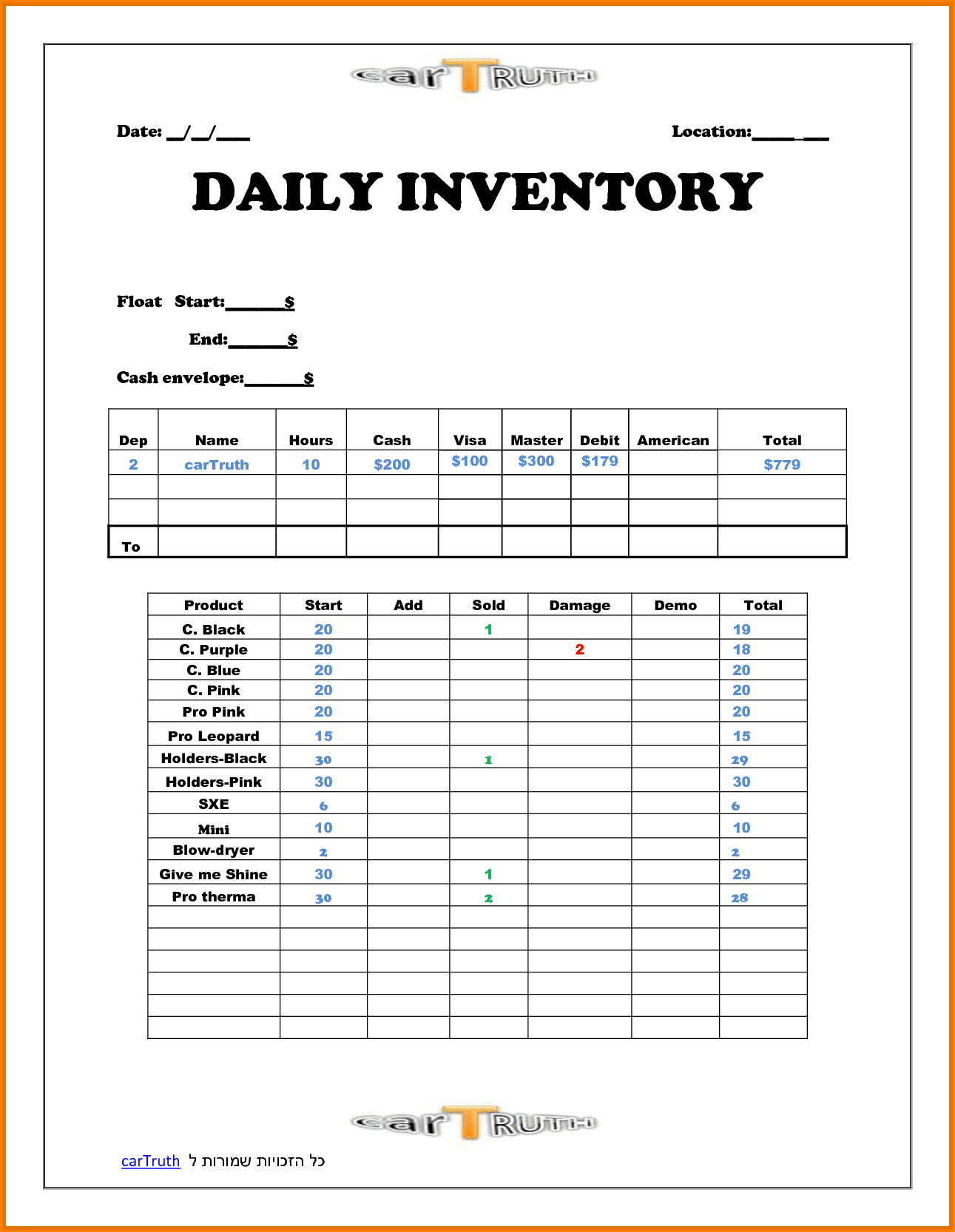 Daily Sales Report Template For Restaurant And Daily Restaurant Sales Log Template
