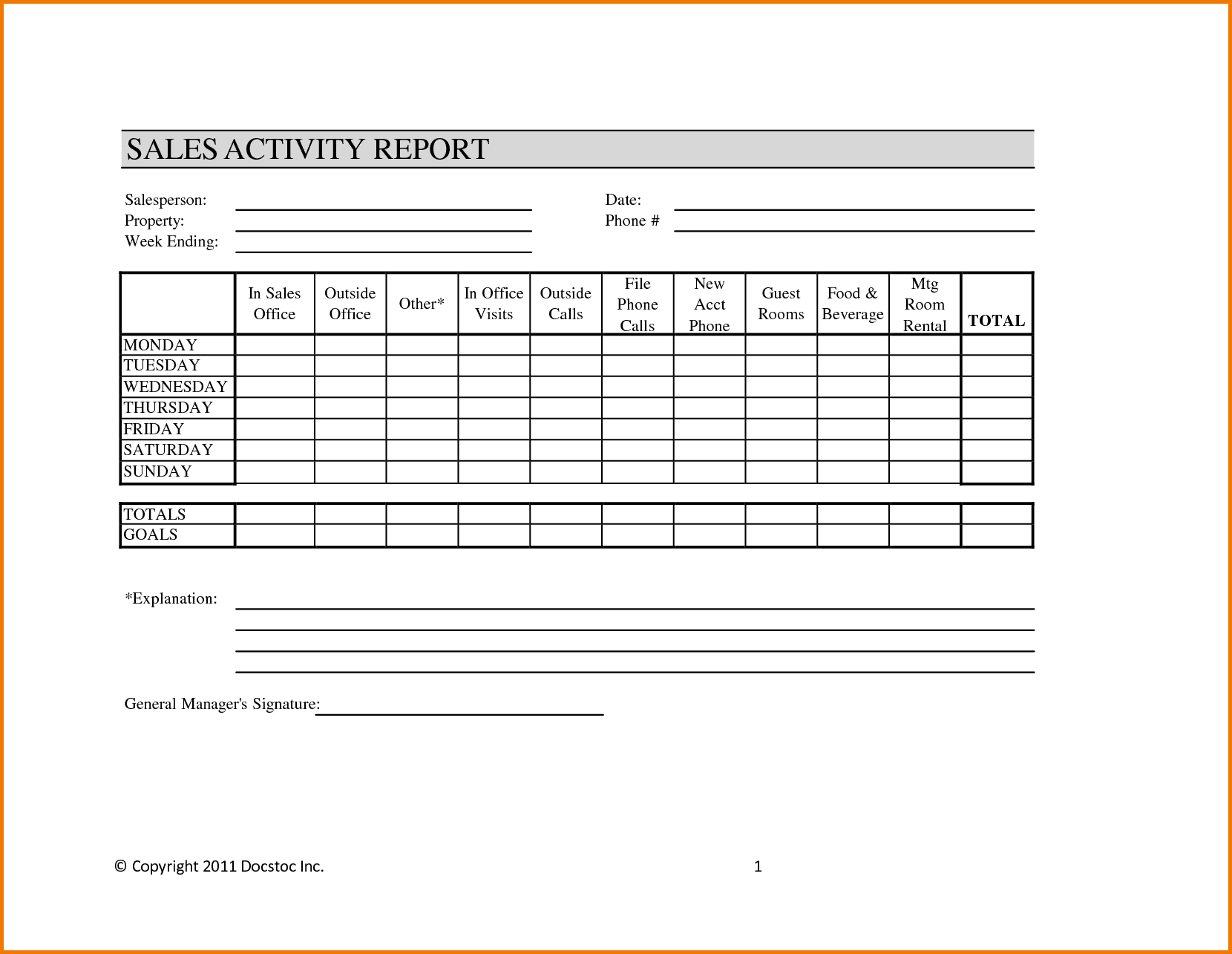 Free Daily Sales Report Format And Daily Sales Call Report Template Free Download