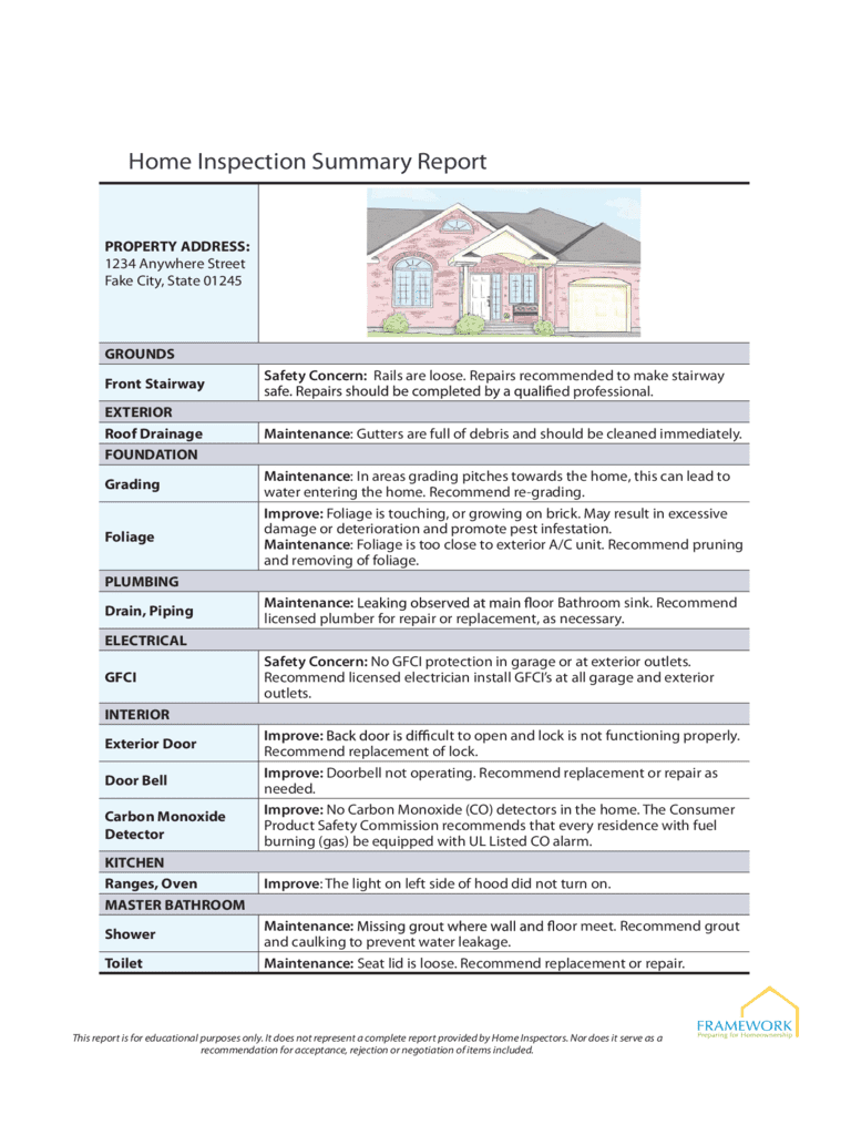Free Home Inspection Report Form Pdf And Template For Home Inspection