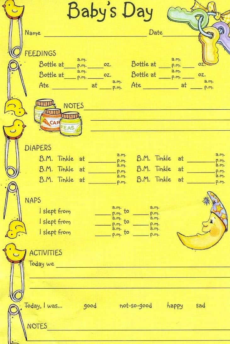 Toddler Daily Report Pdf And Child Care Daily Report Sheets