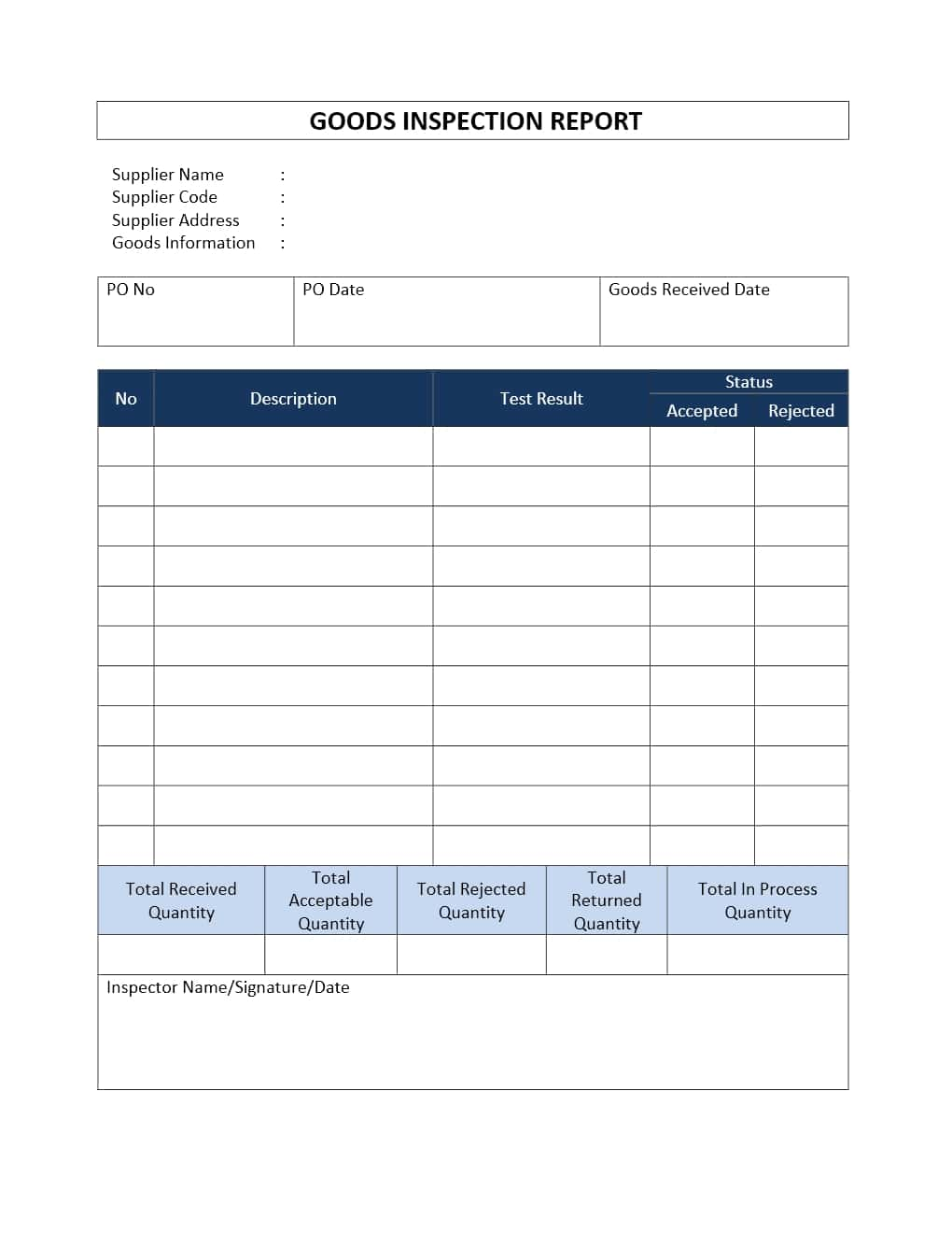 Vehicle Inspection Report Template And Vehicle Inspection Report Template Download