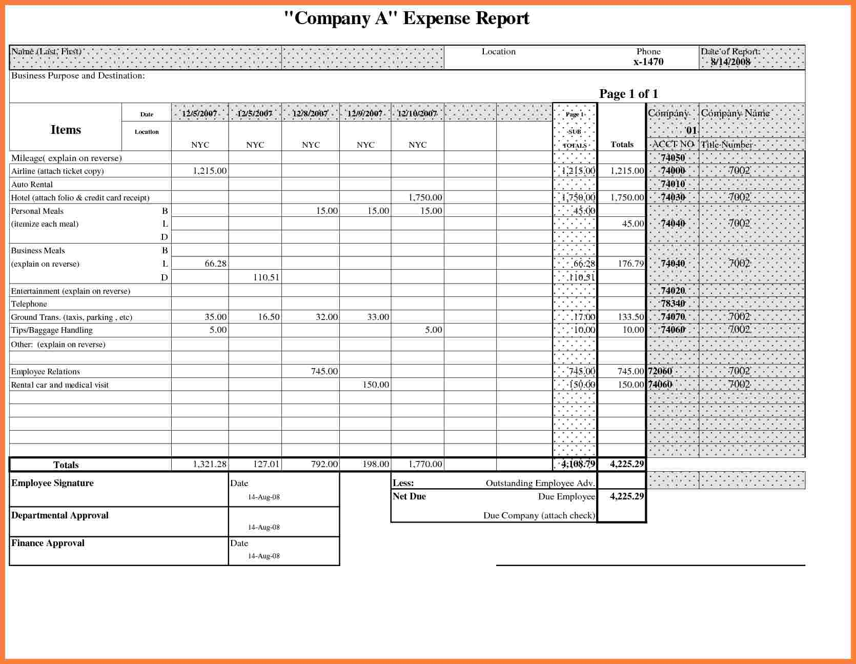 Business Expense Report Template And Excel Expense Report Template Free Download