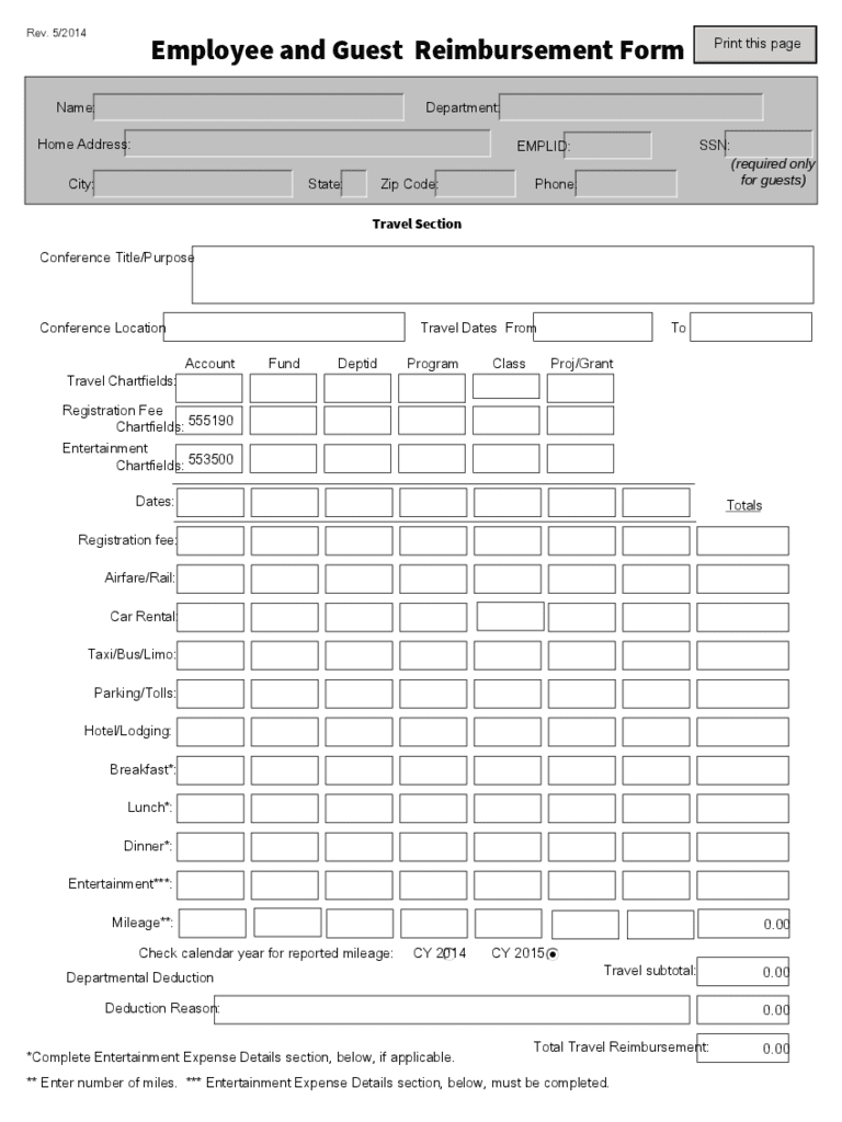 Employee Expense Reimbursement Form Template And Employee Expense Reimbursement Software
