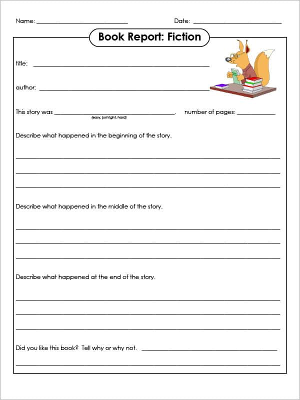 Example Of Book Report Of Story And My Book Report Collection