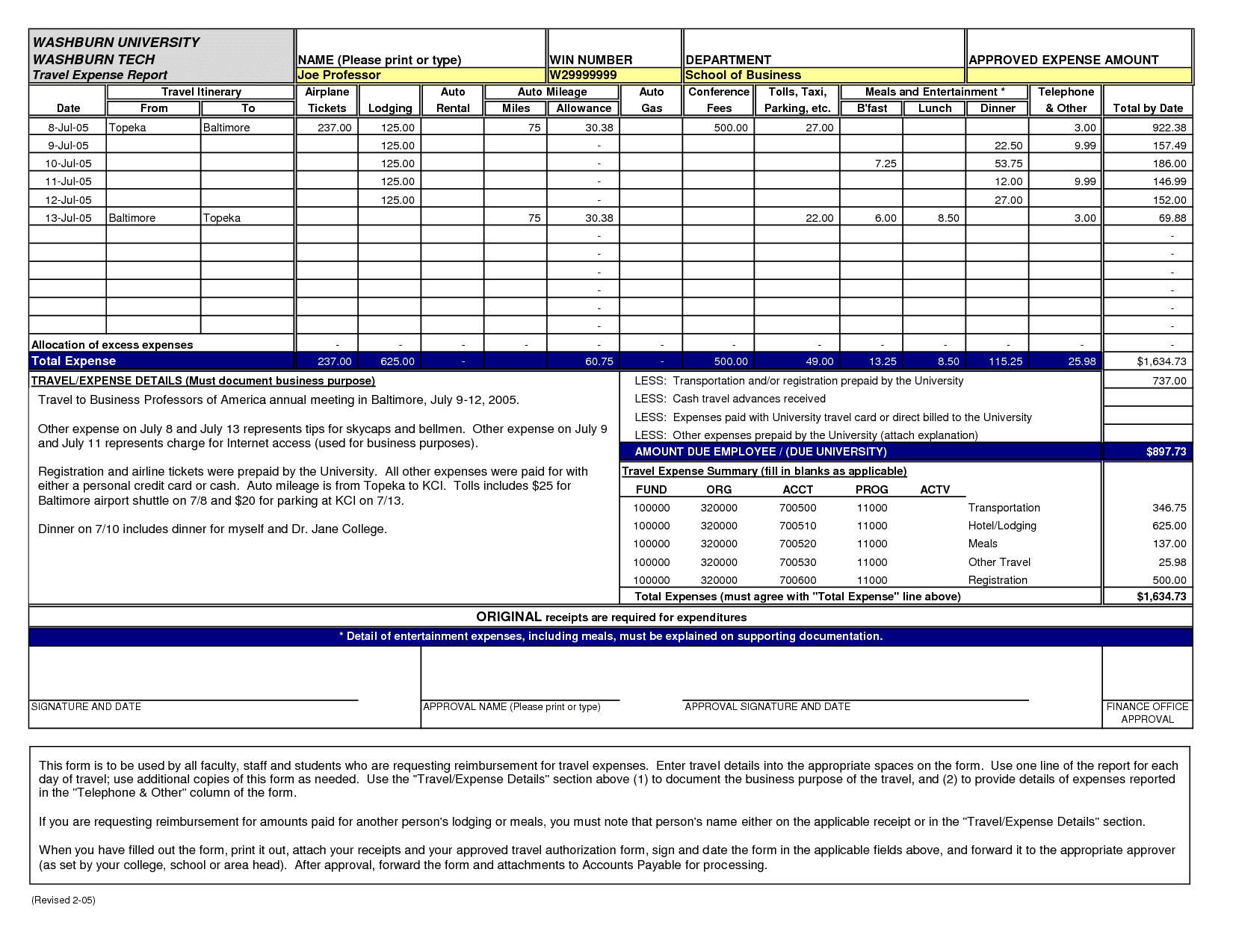 Example Of Church Expense Report And Expense Report Template Word