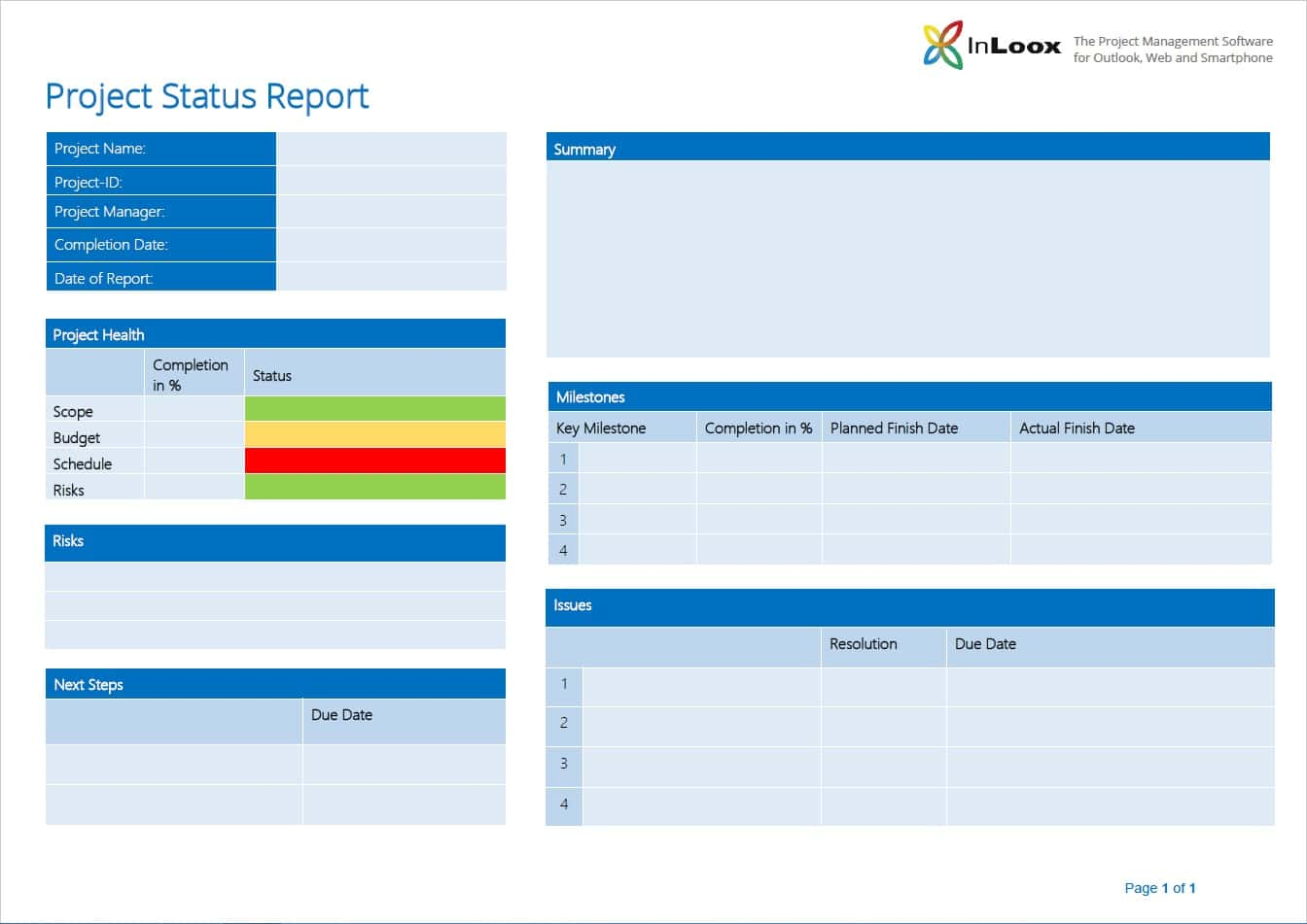 Example Of Project Summary Report And Example Of One Page Project Status Report