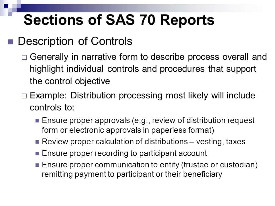 Example Of SAS 70 Report And SAS 70 Type Ii Audit