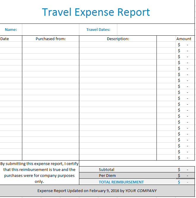 Expense Report Template Google Docs And Free Expense Report Form Pdf