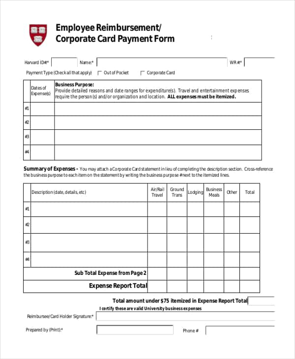 General Reimbursement Form And Employee Expense Reimbursement Through Payroll