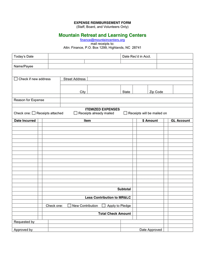 Sample Expense Report Form And Sample Medical Expense Reimbursement Form