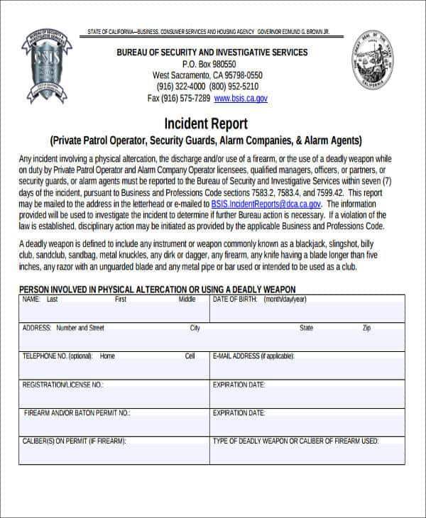 Security Guard Report Template And Security Guard Incident Report Form Template