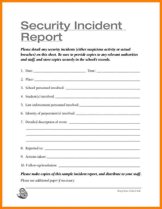 Security Officer Report Writing Exercises And Security Officer Incident Report Sample