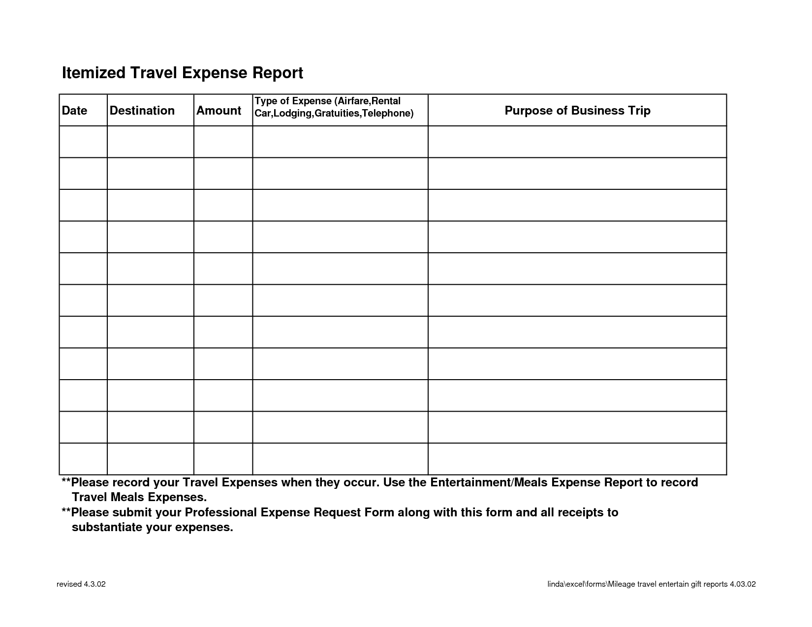 Travel Expense Report Form Free And Expense Report Template Excel 2010