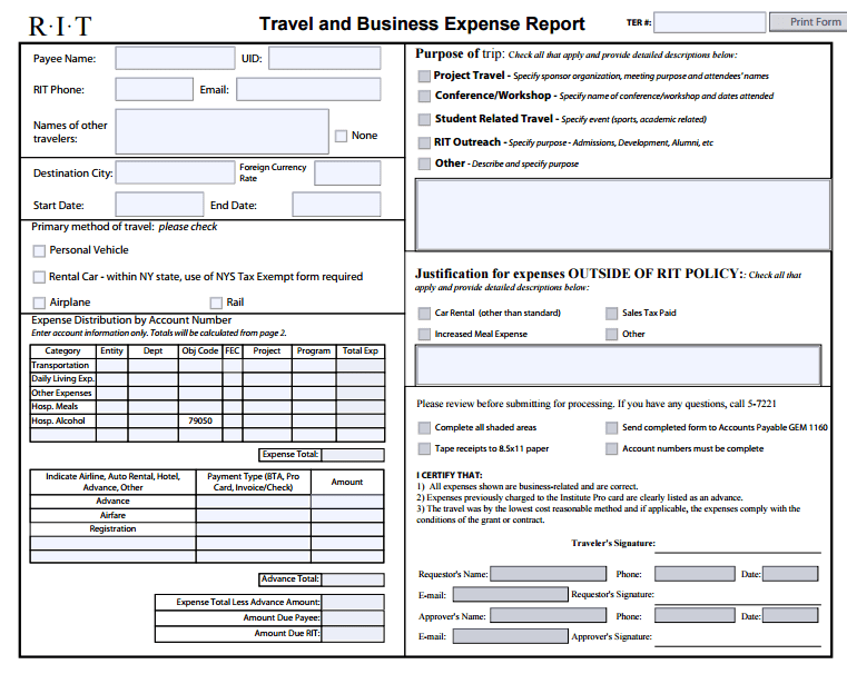 Travel Expense Report Template And Itemized Expense Sheet Template