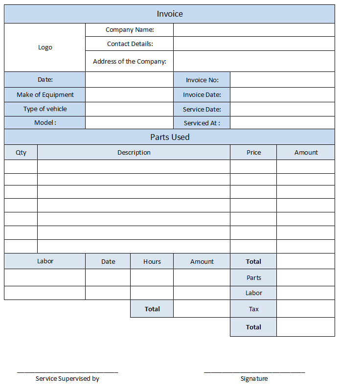 Auto Repair Bill Template And Auto Repair Invoice Template For Excel