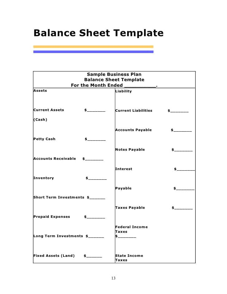 Balance Sheet Template Xls And Projected Balance Sheet Template Uk