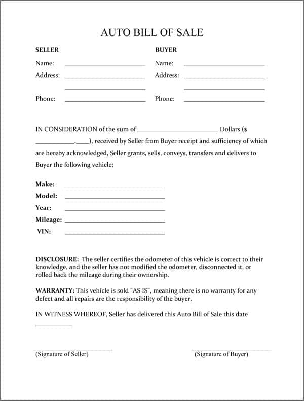 Bill Of Sale Form For A Trailer And Bill Of Sale Template Alberta Trailer