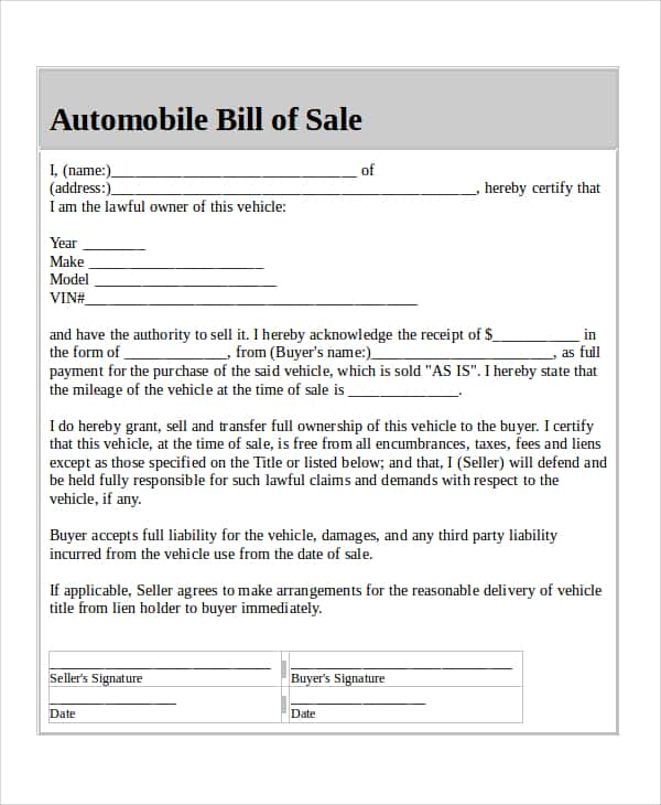 Bill Of Sale Form Used Car Download And Sample Of Bill Of Sale For Used Car