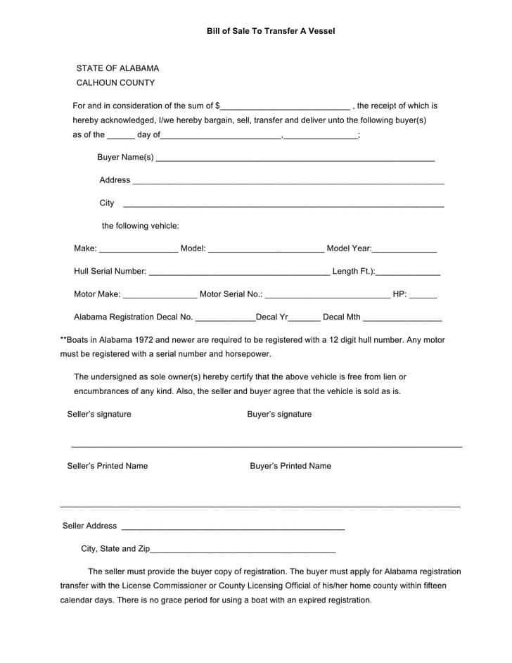 Bill Of Sale Template For A Trailer And Bill Of Sale Form Travel Trailer