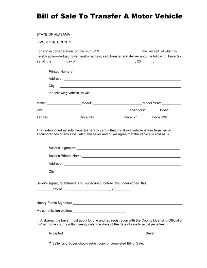 Bill Of Sale Template Pdf And Private Owner Bill Of Sale For Car