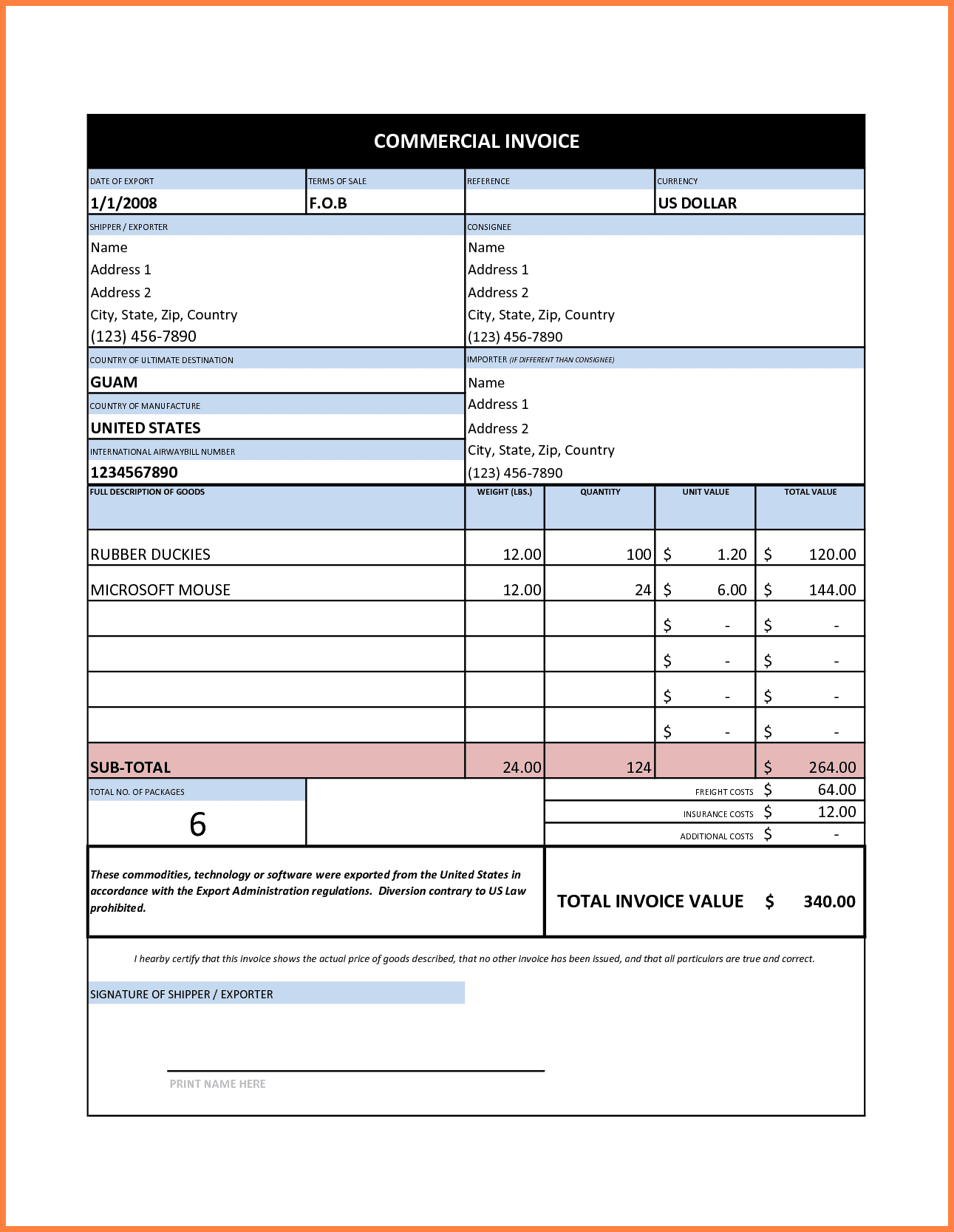 Commercial Invoice Template Excel Free Download And Tax Invoice Template Free Excel