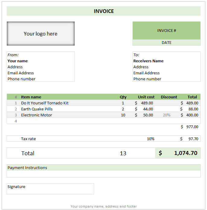 Commercial Invoice Template Free Excel And Free Invoice Template Downloads