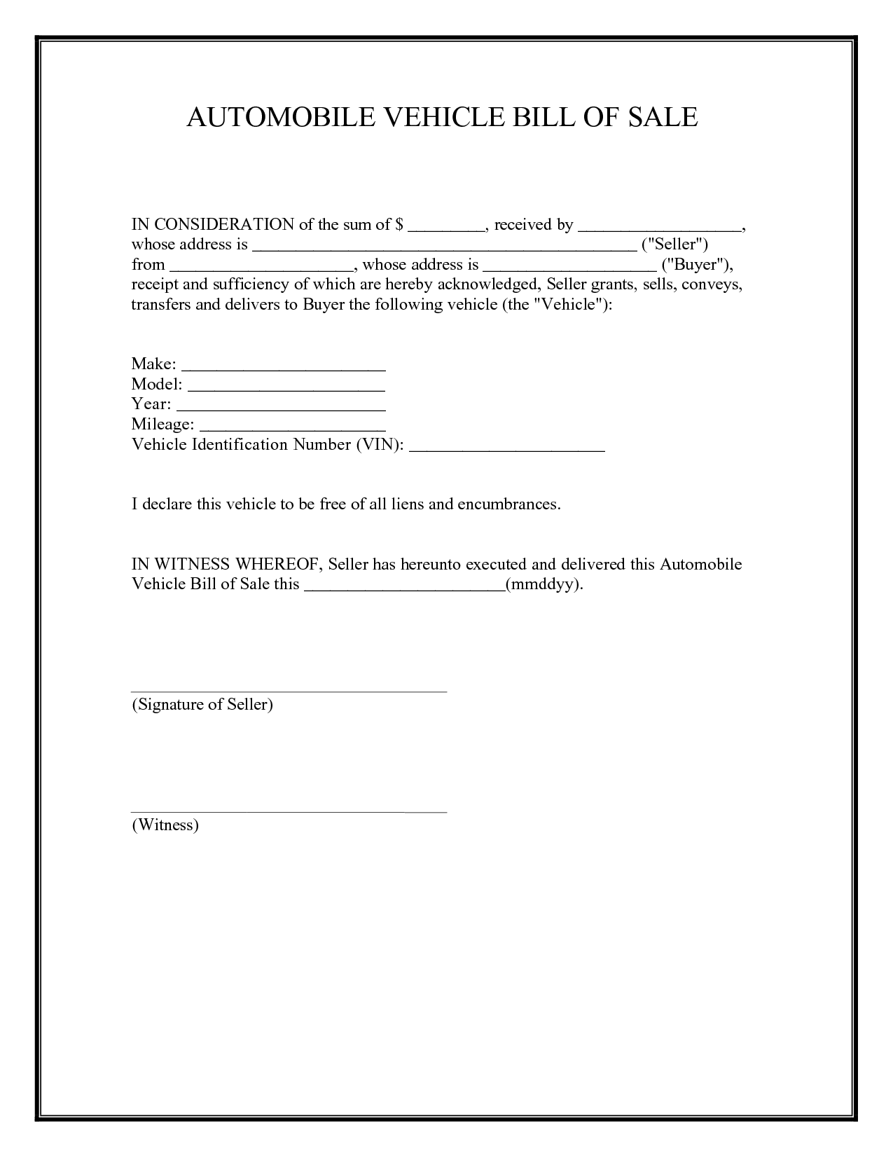Free Bill Of Sale Form For Car In Georgia And Free Car Bill Of Sale Template Ontario